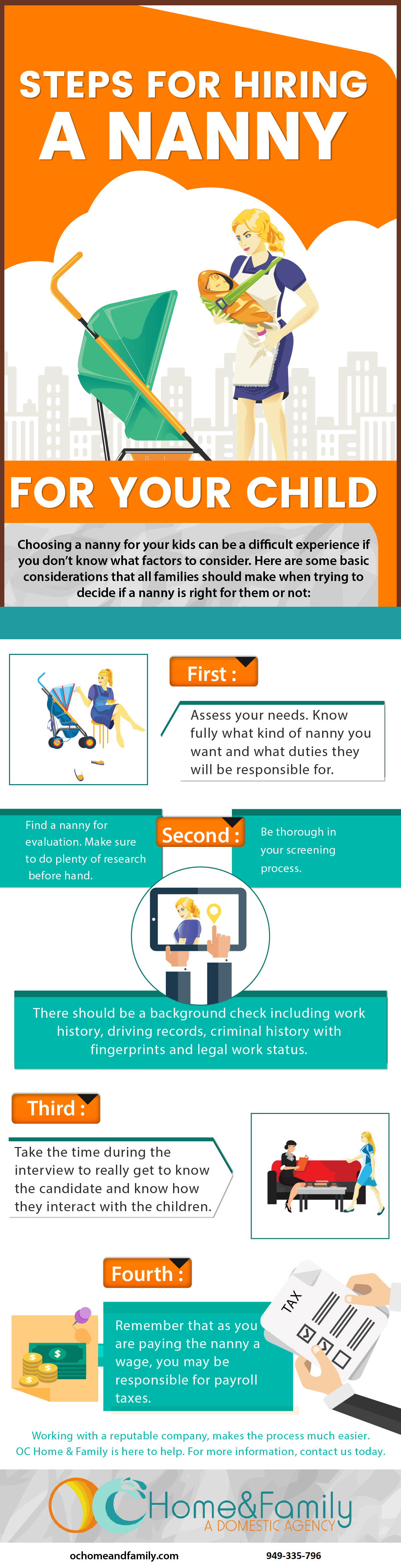 Steps for hiring a nanny infographic